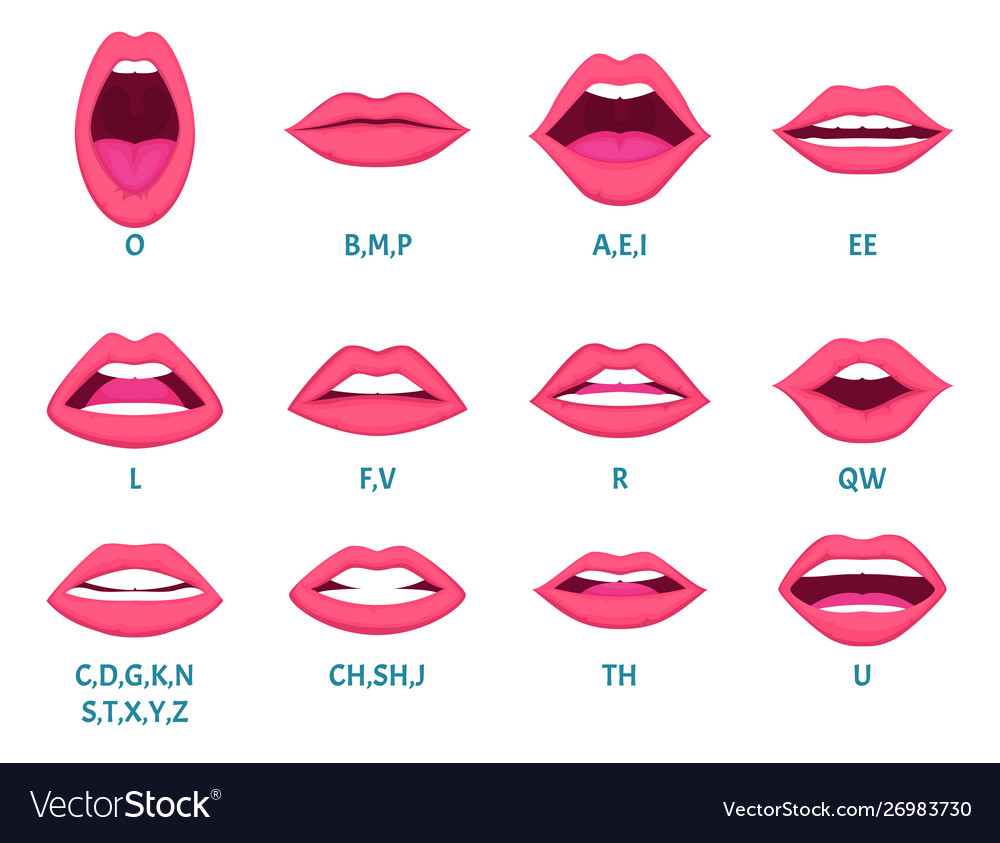 Female mouth animation sexy lips speak sounds