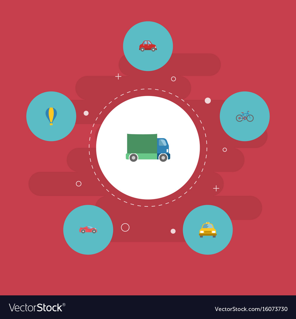 Flat icons lorry cab luxury auto and other vector image
