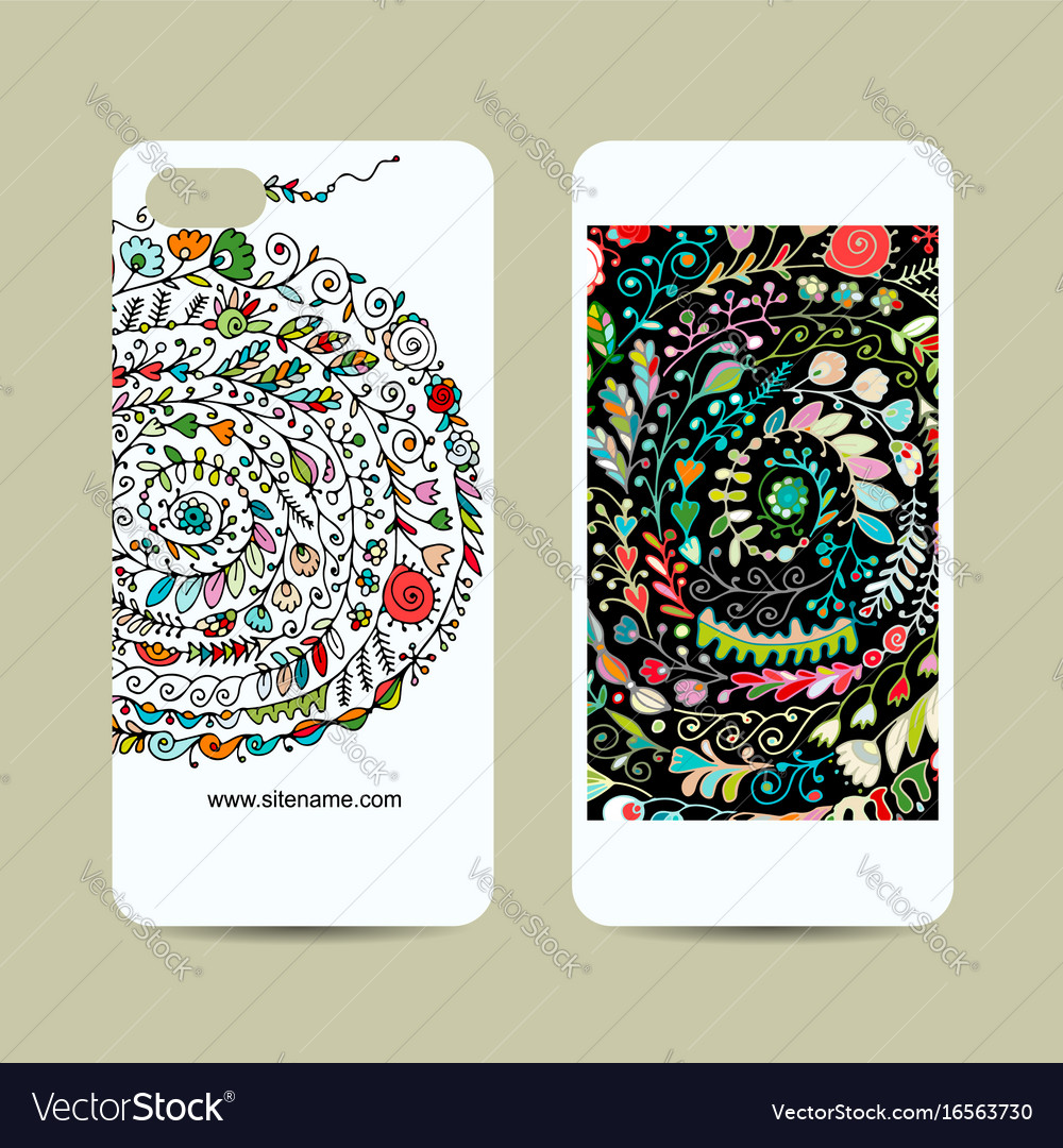 Mobile Phone Design Floral Background Royalty Free Vector