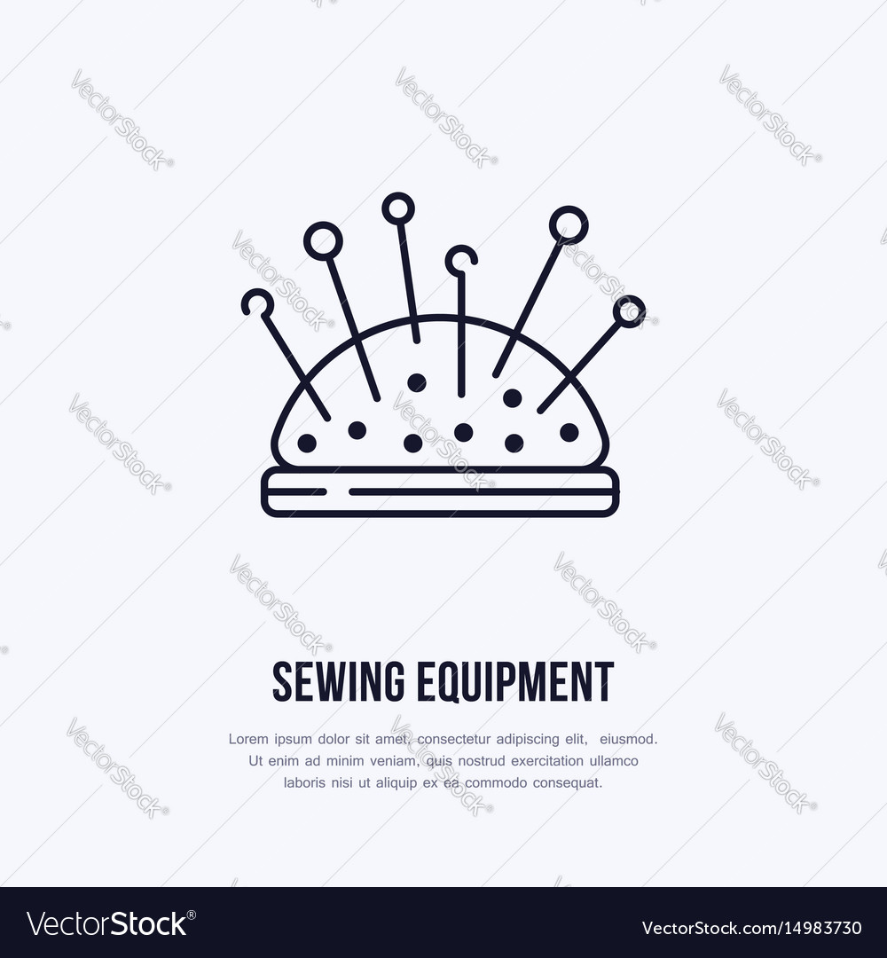 Pincushion flat line icon sign for sewing