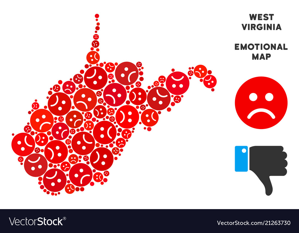 Pitiful West Virginia State Map Collage Of Vector Image