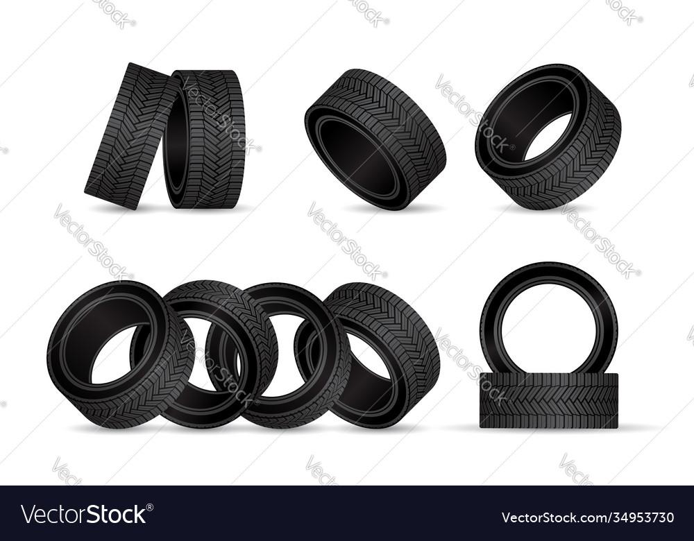 Realistic tire fitting design black rubber wheels
