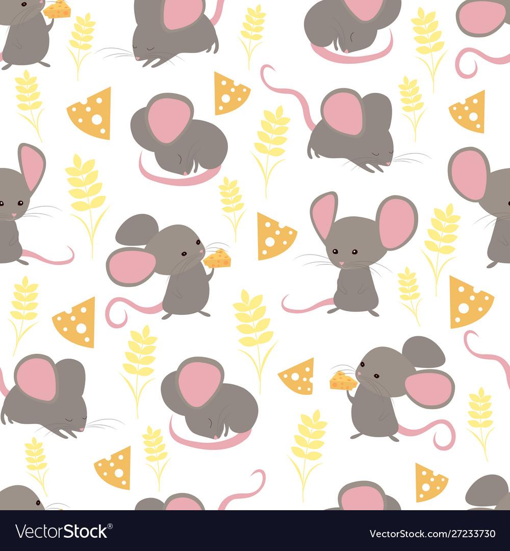 Seamless pattern funny cute little happy mice