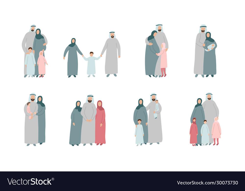 Set different muslim families arabian parents