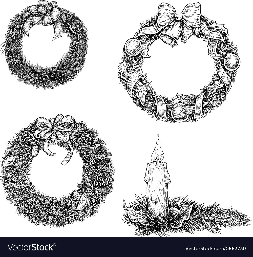 Drawings Of Christmas Wreaths.Set Of Christmas Design Elements Hand Draw Ink