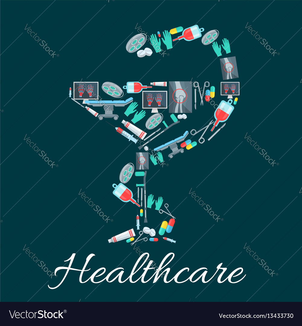 Snake and cup pharmacy symbol with medical icons vector image