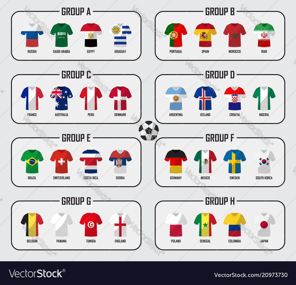 Soccer cup 2018 team group set football players