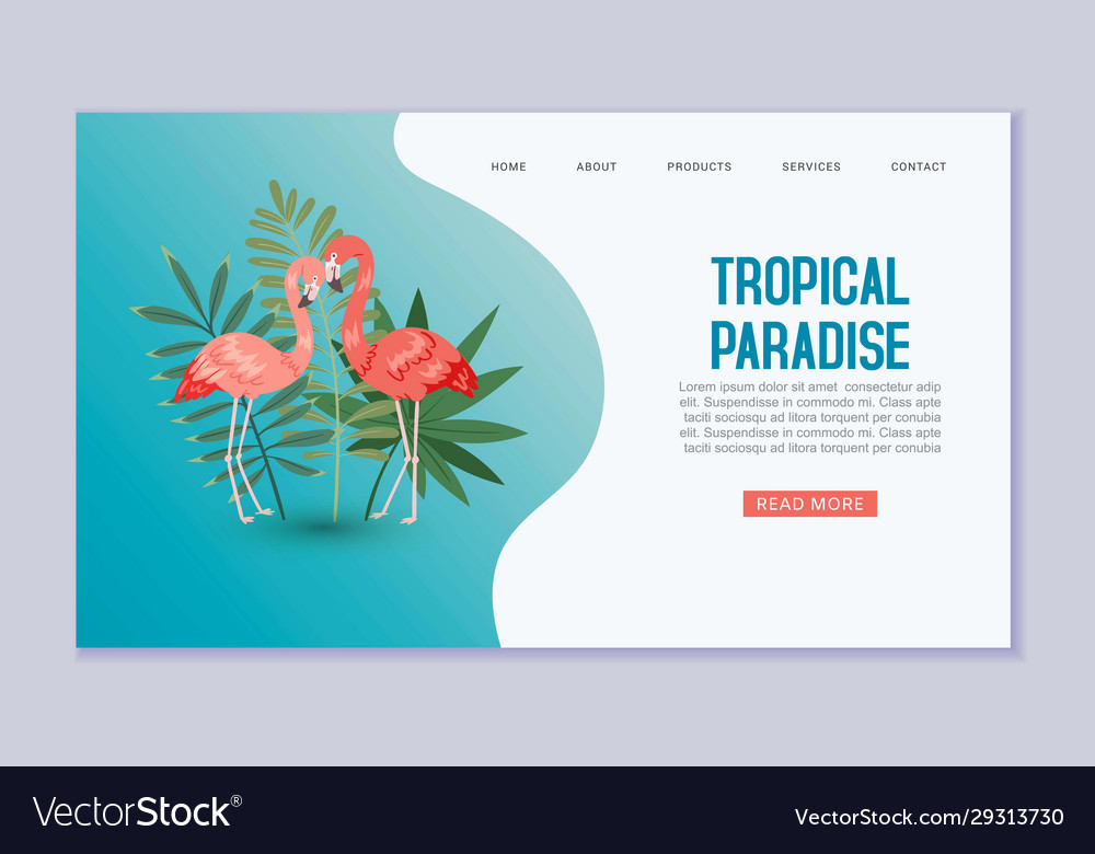 Tropical paradise web banner or template