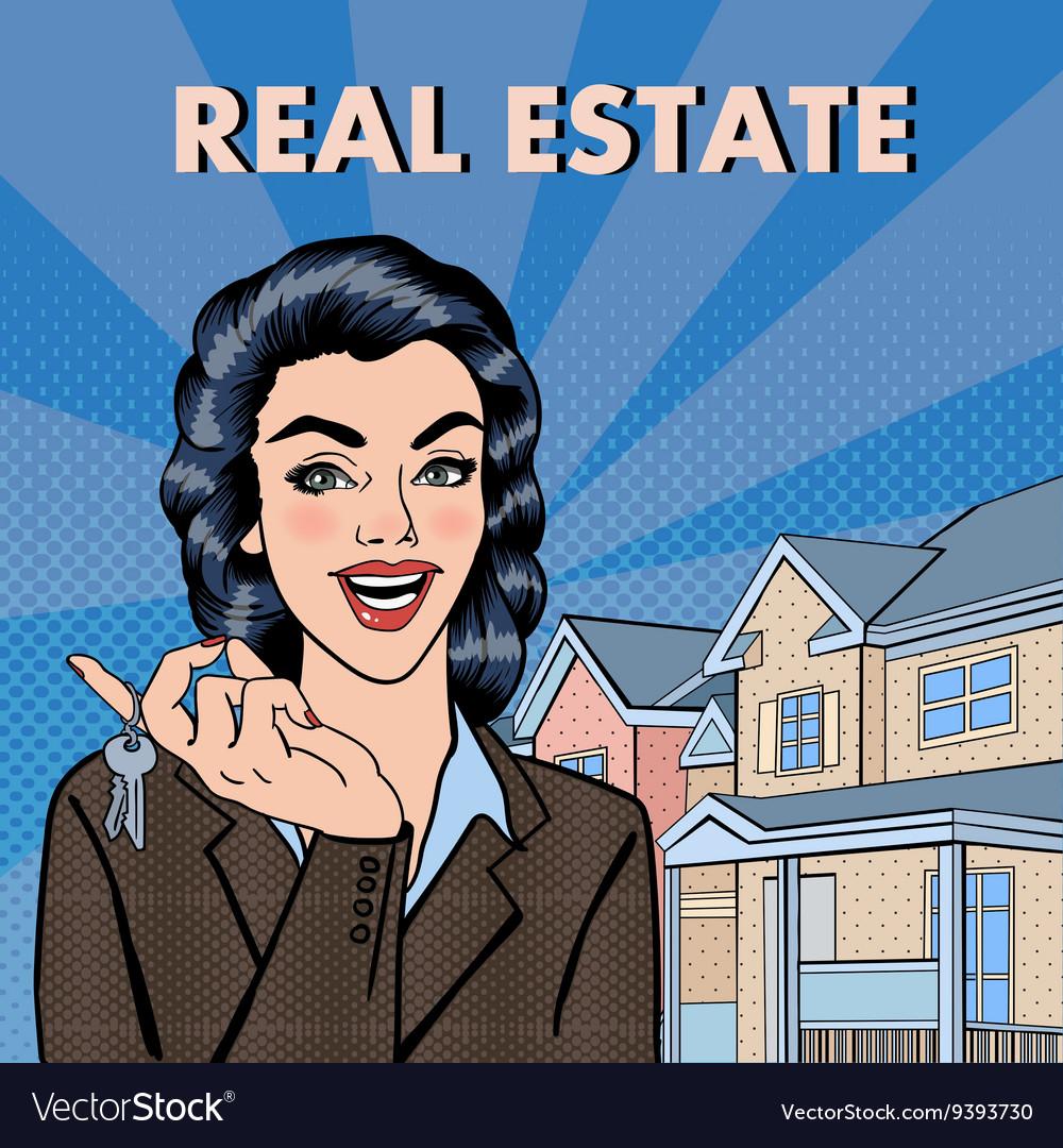 Woman Real Estate Agent Pop Art