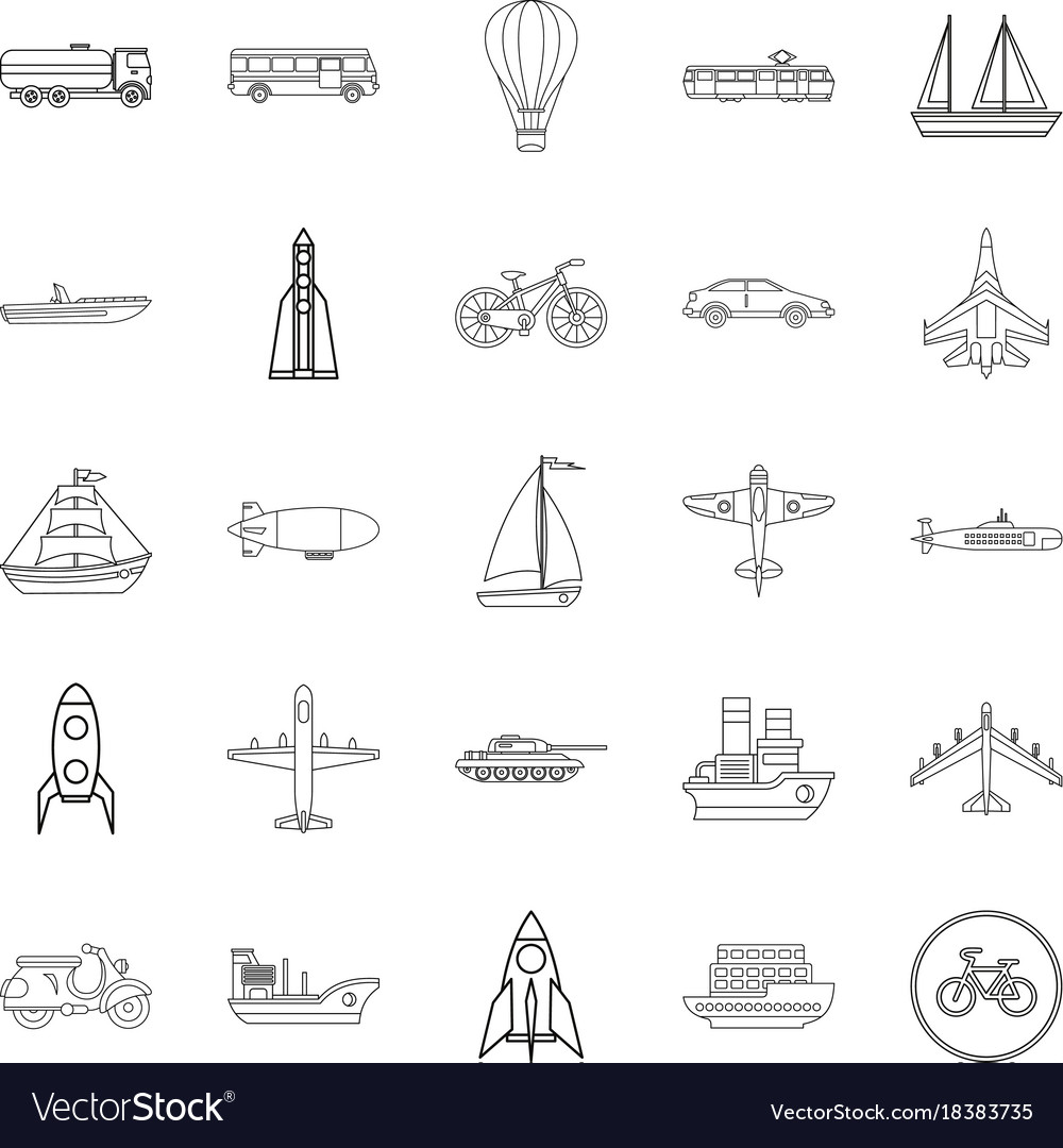 Air transport icons set outline style