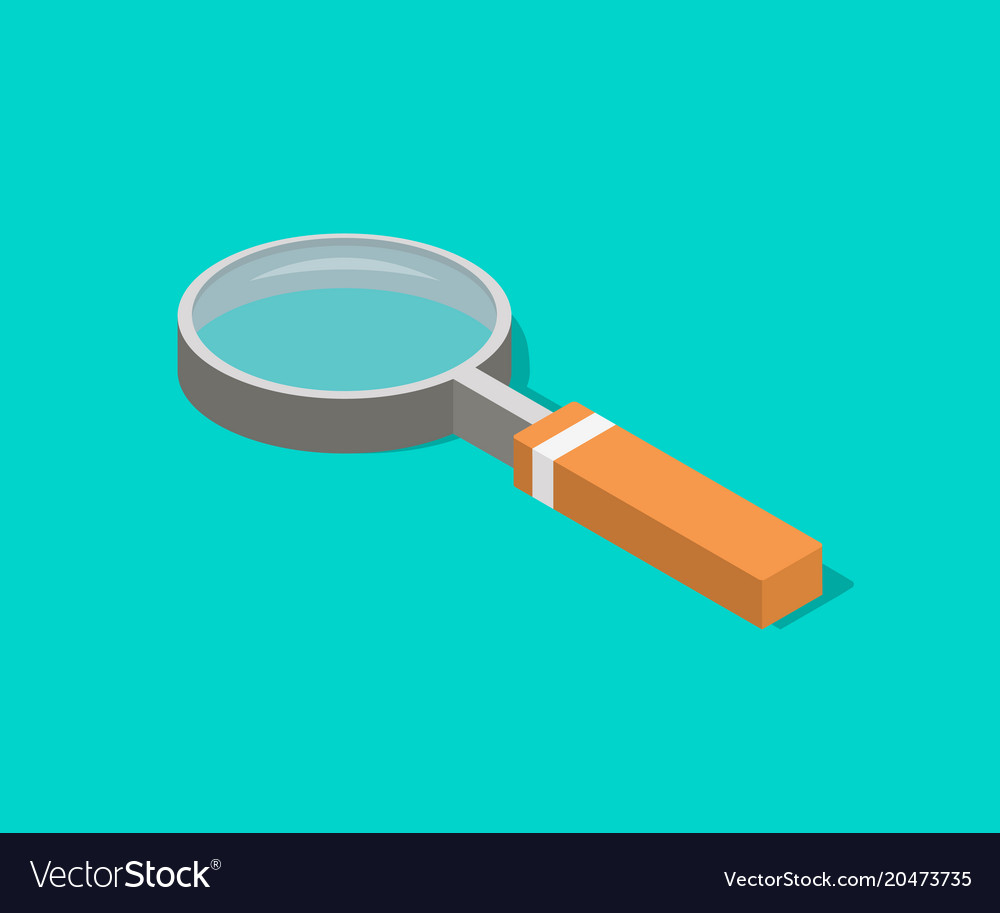An isometric magnifying glass with flat style and
