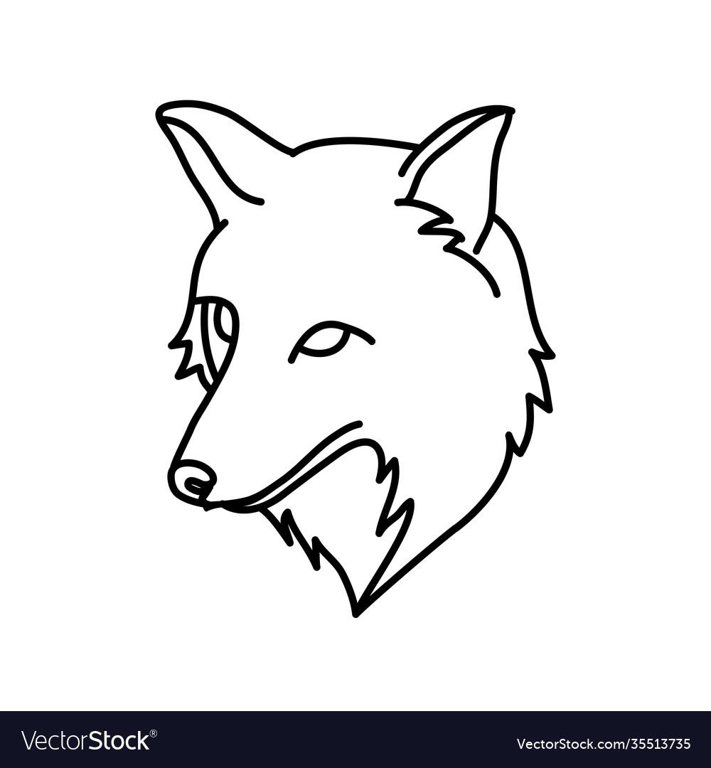 Animal fox icon design clip art line icon