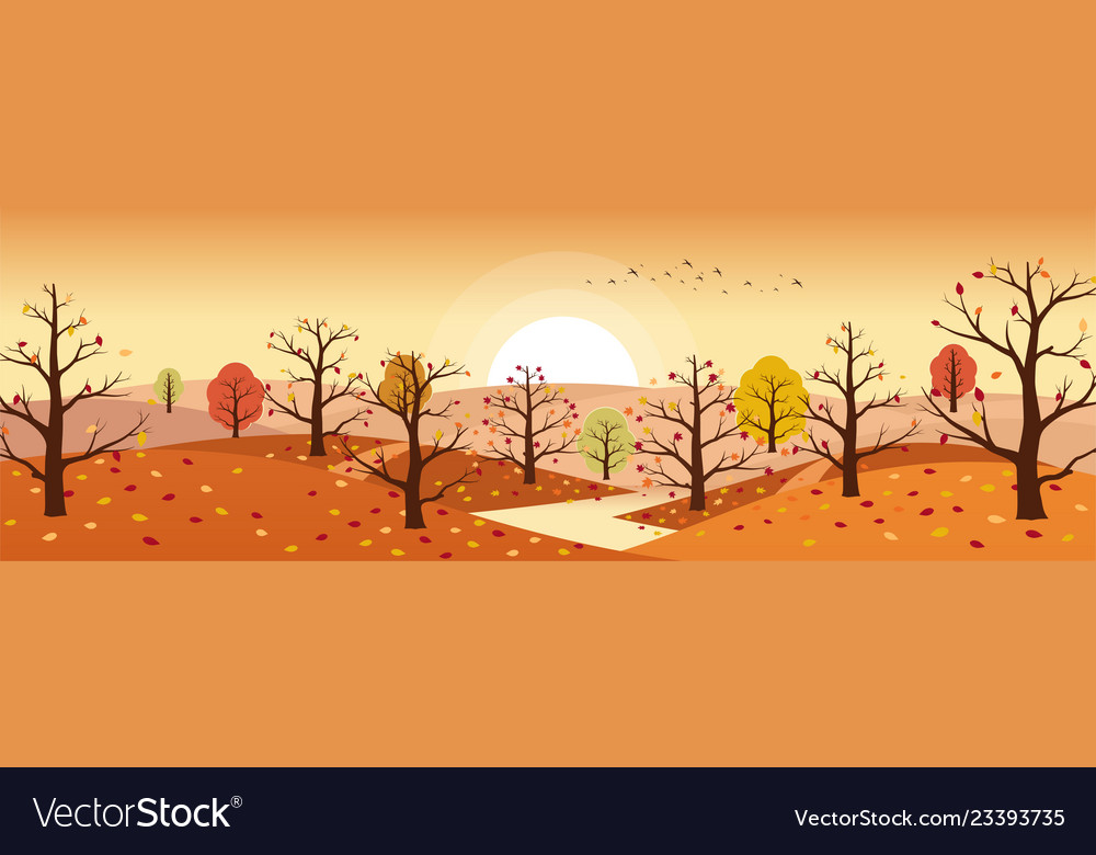 Autumn countryside landscape with river