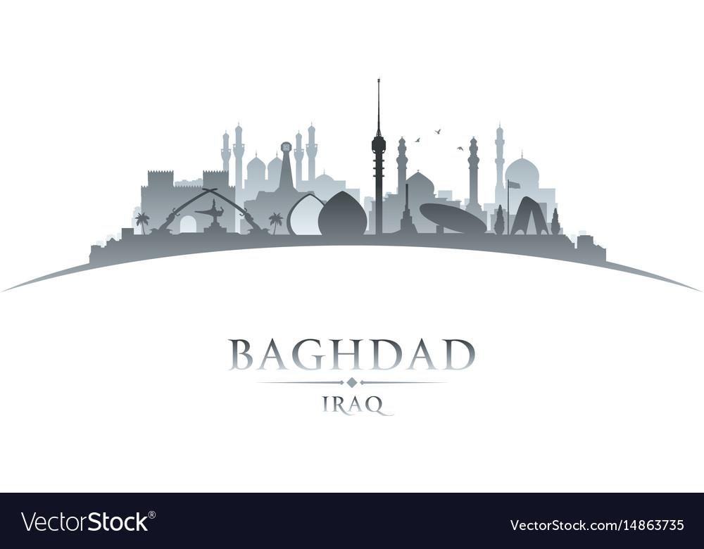 Baghdad iraq city skyline silhouette white