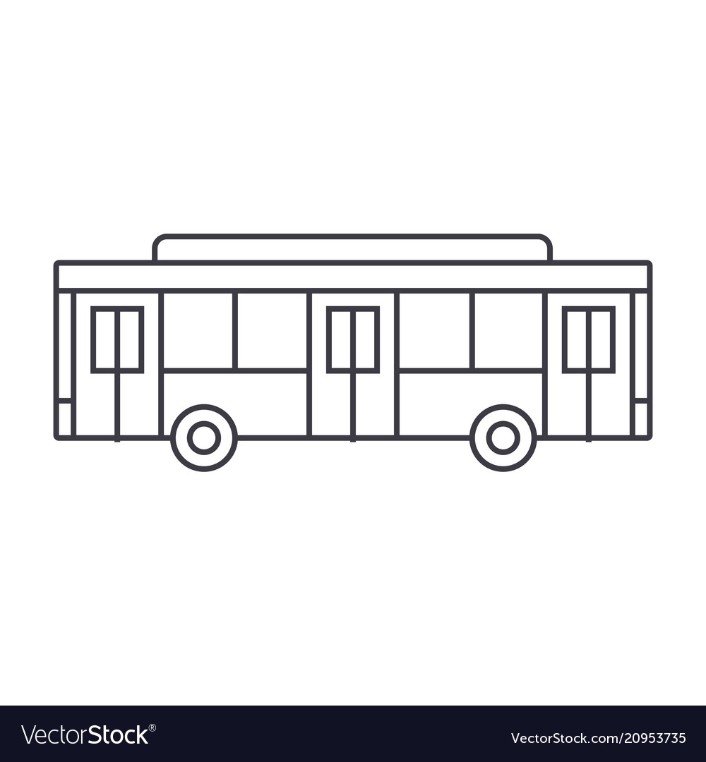 Bus thin line icon concept bus linear sign vector image