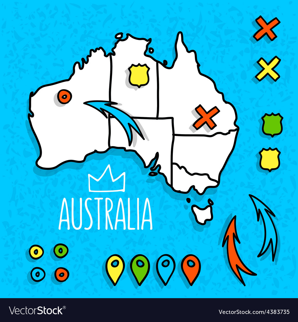 Map Of Australia Pdf.Cartoon Style Australia Travel Map With Pins