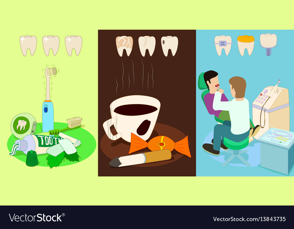 Dental horizontal banners set cartoon style