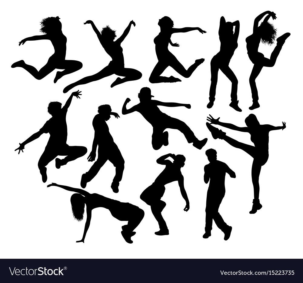 Happy hip hop dancing activity silhouettes