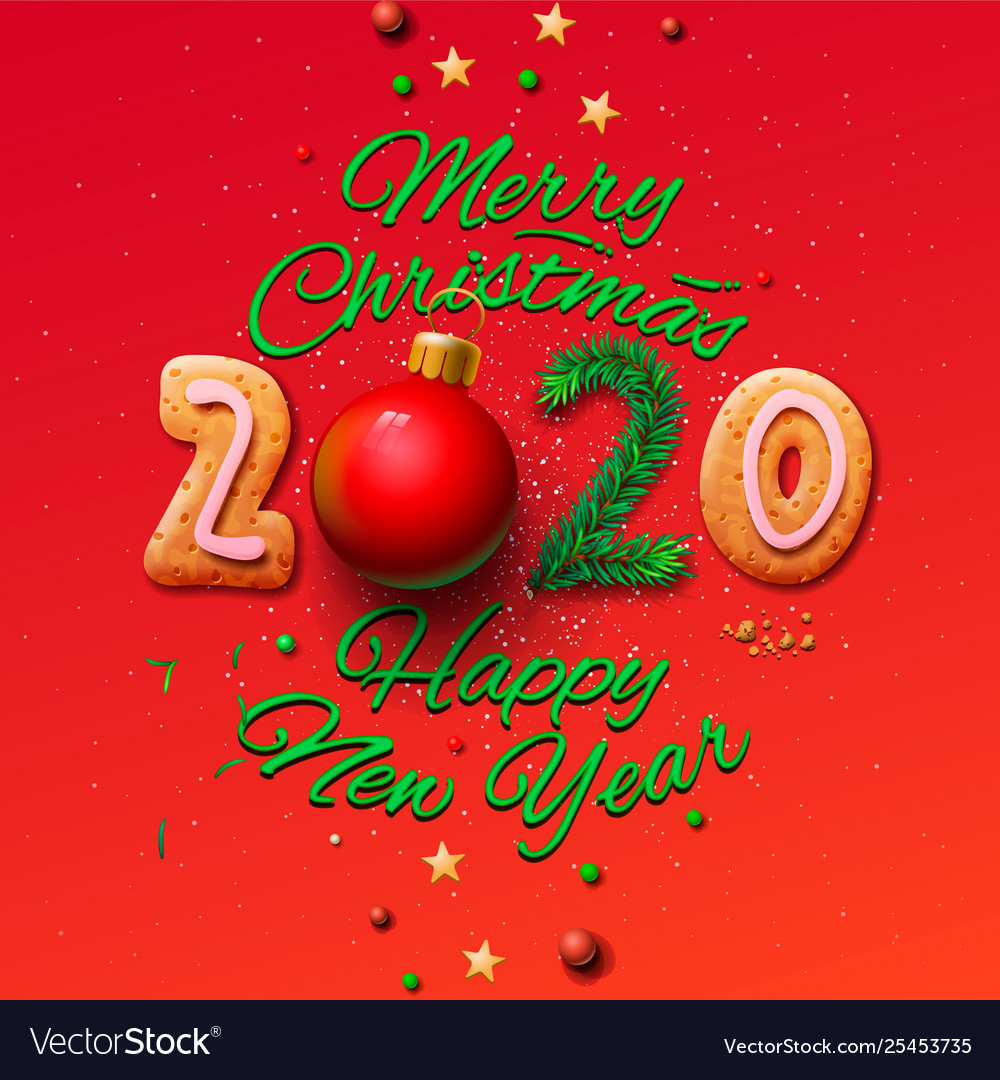 Merry Christmas And Happy New Year 2020 Merry christmas and happy new year 2020 greeting Vector Image