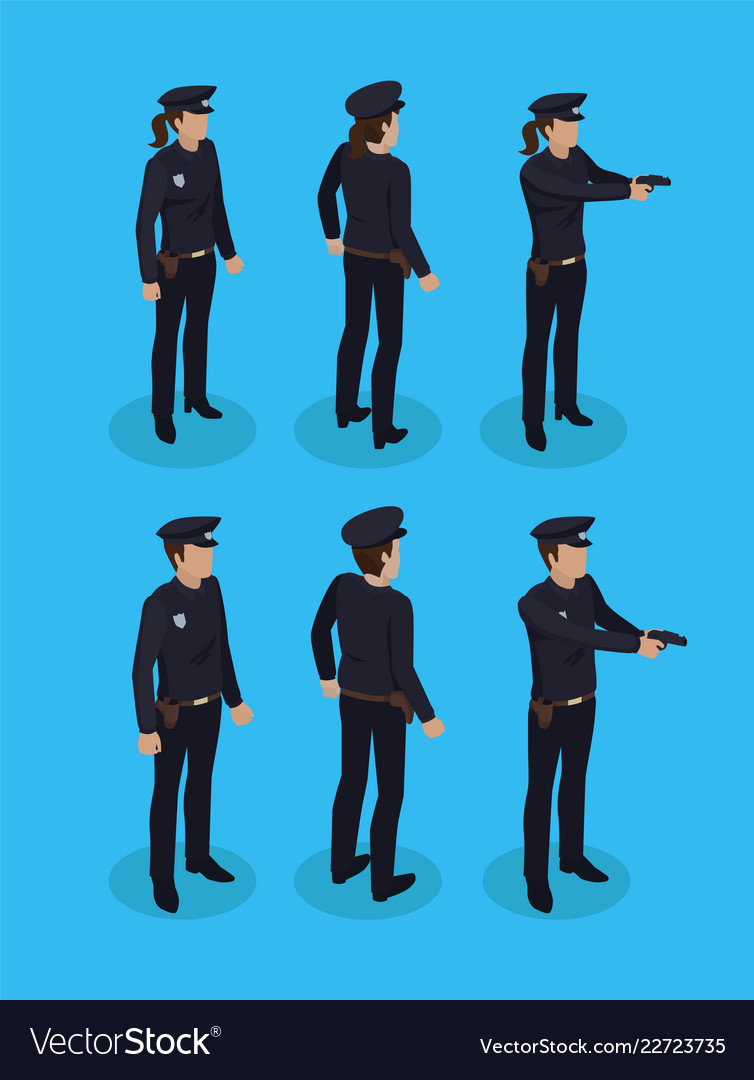 Police officers in uniform working concept icons
