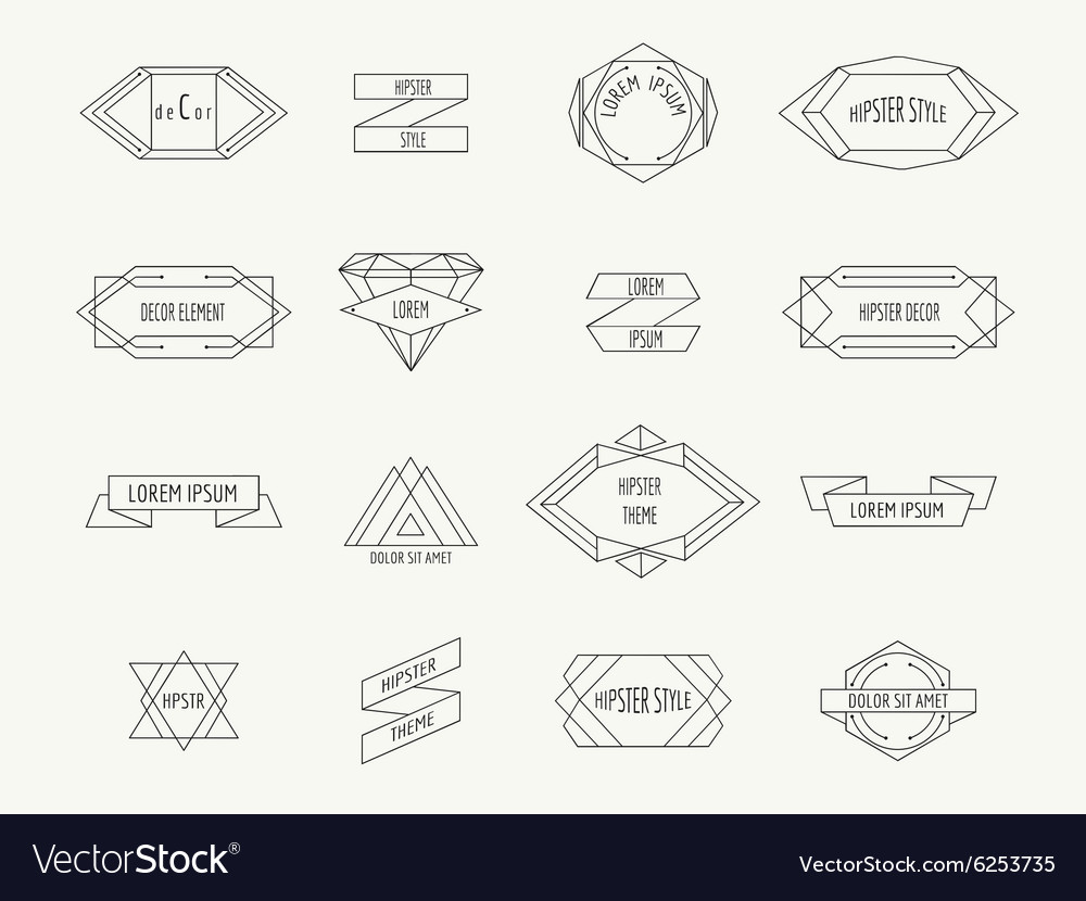 Vintage geometric hipster borders for labels