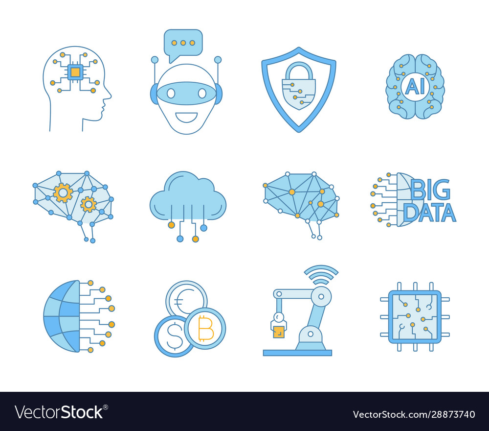 Artificial intelligence color icons set