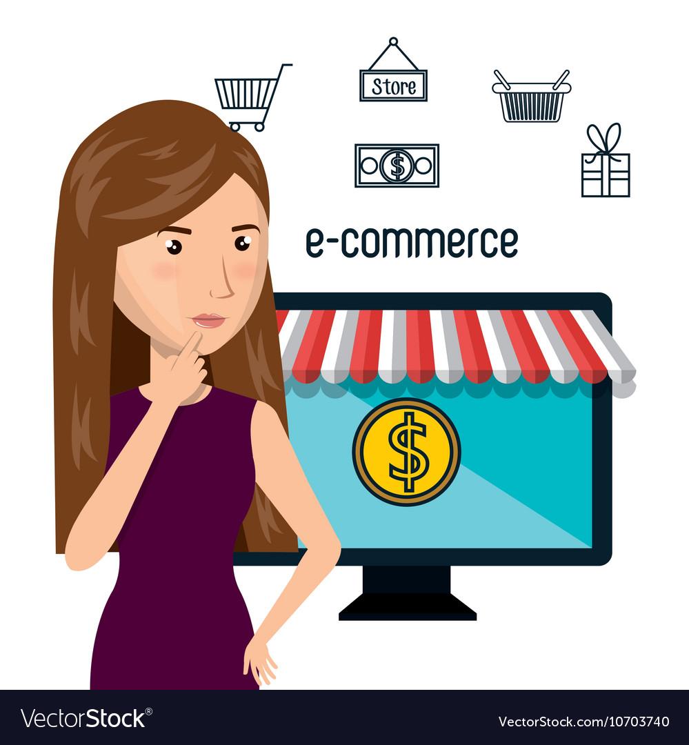Cartoon woman e-commerce monitor pc isolated