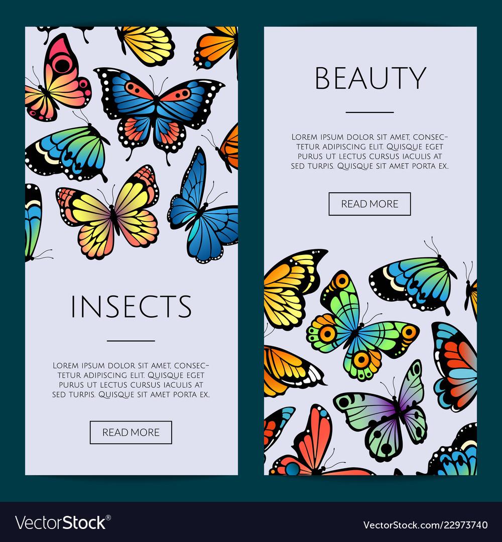 Decorative butterflies web banner templates