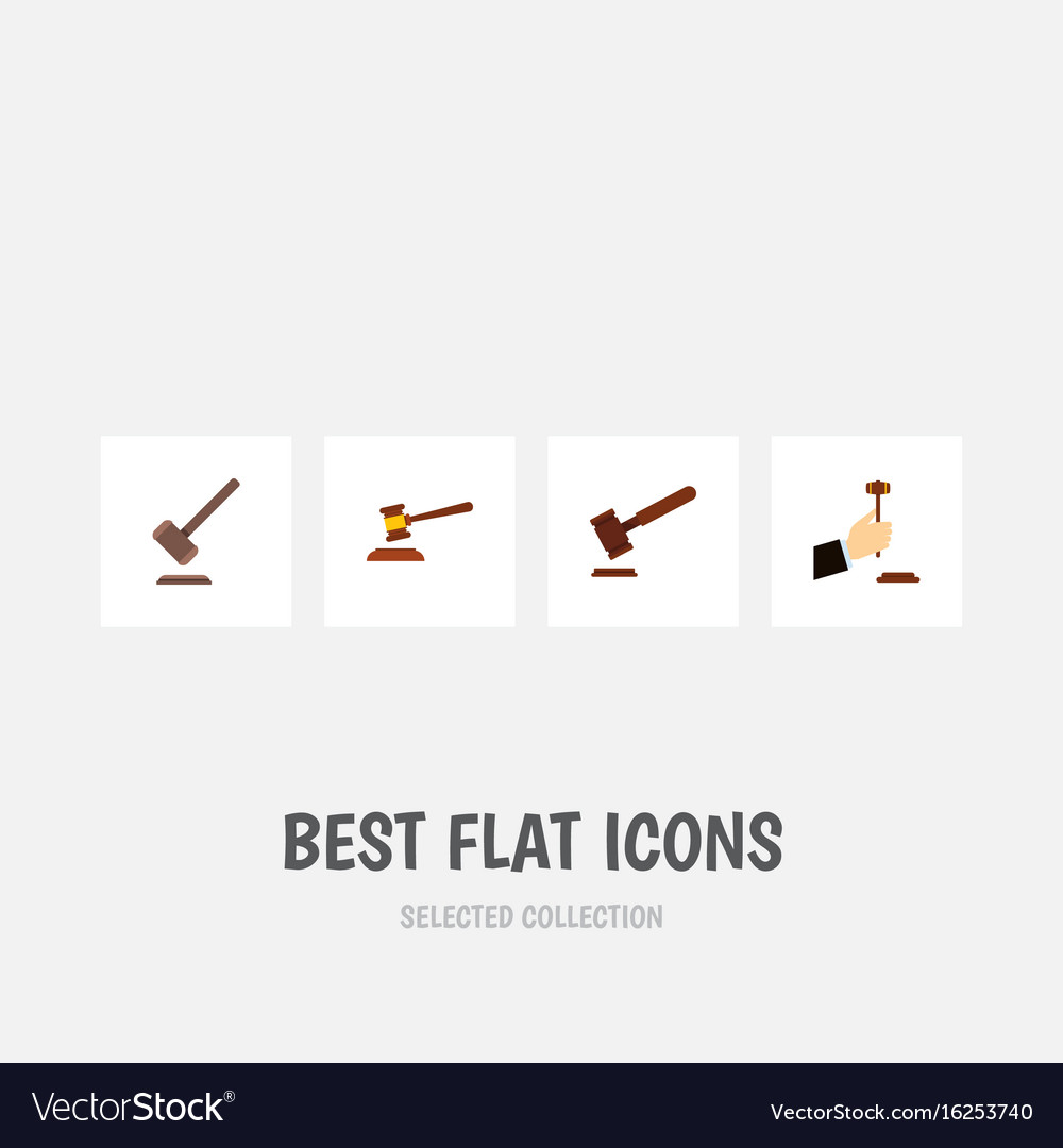 Flat icon hammer set of justice hammer law and