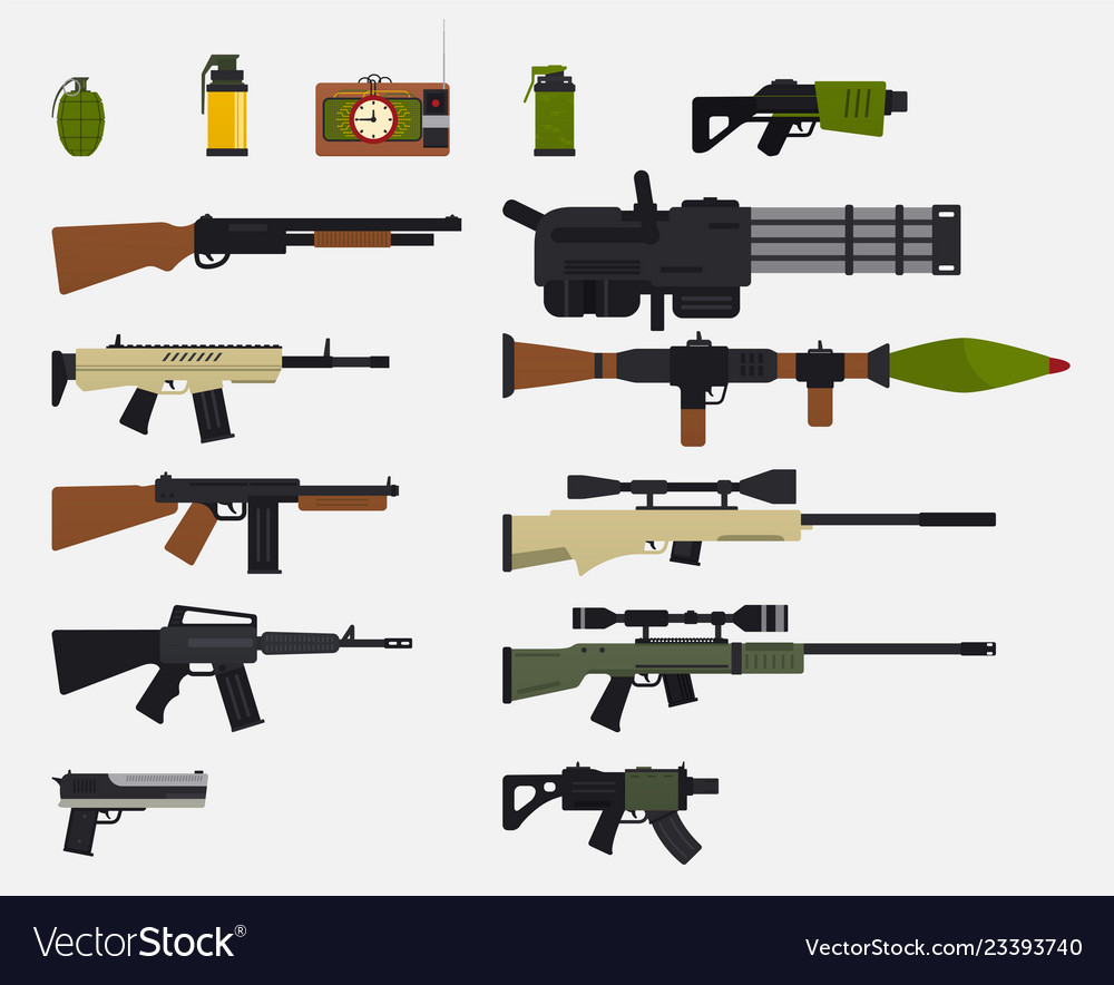 Modern battle weapons set of military weapons