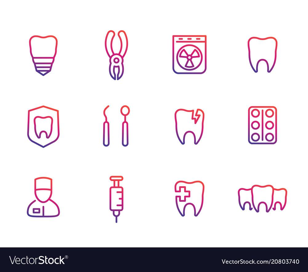 Oral medicine stomatology teeth line icons set