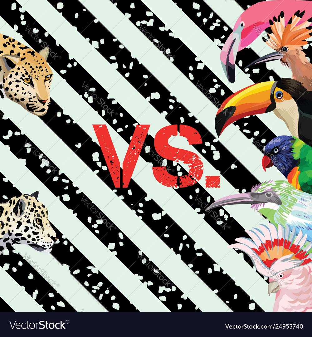 Print pattern panther vs tropical birds wallpaper