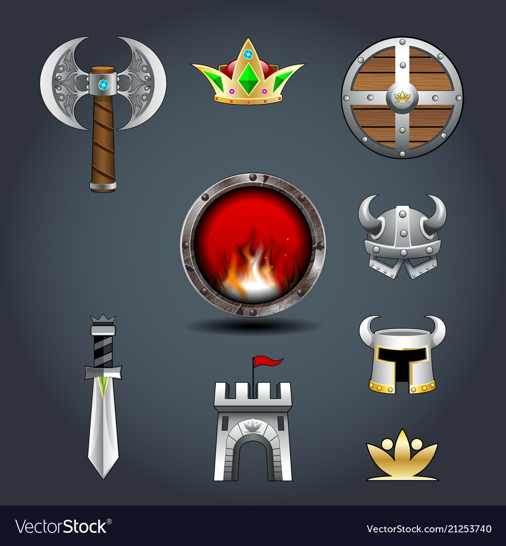Set of warriors game icons axe crown shield helm