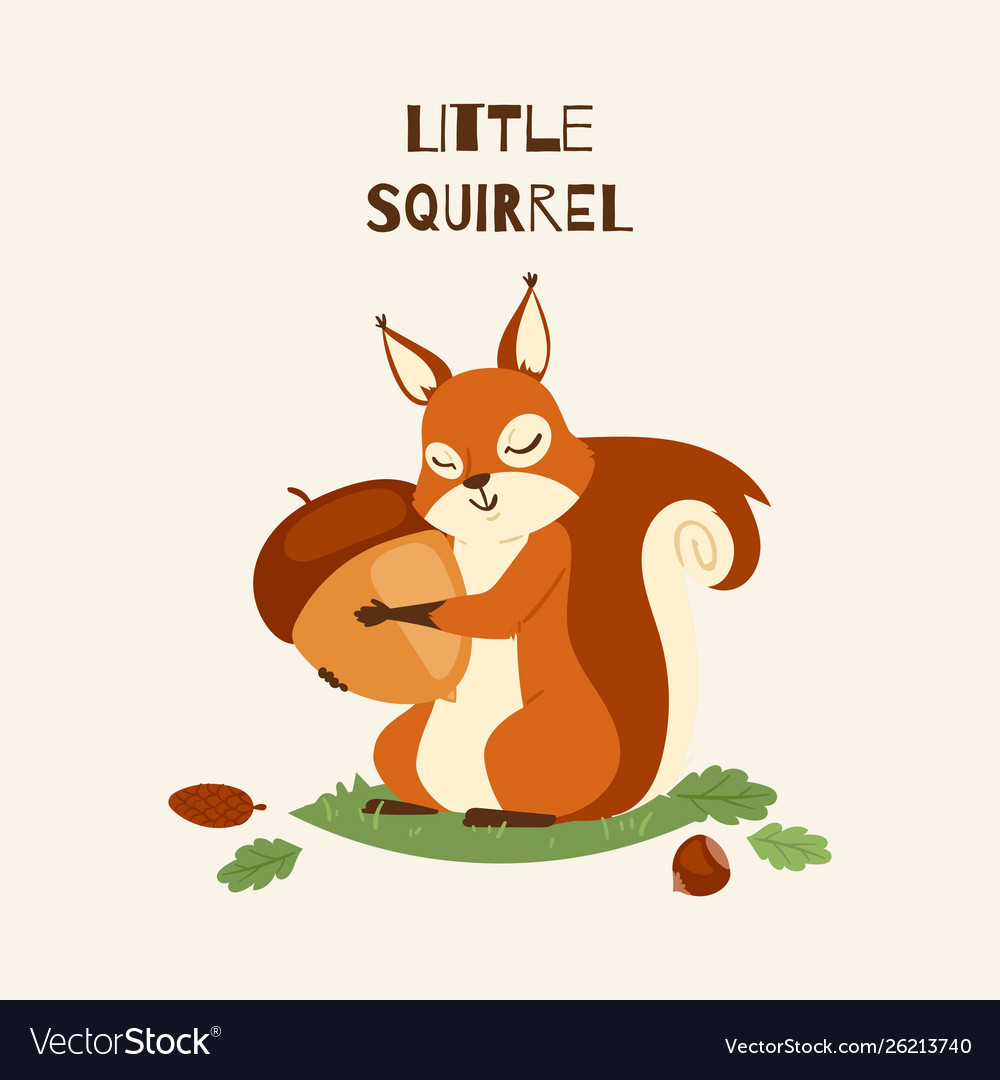 Squirrel little hugging acorn and standing on