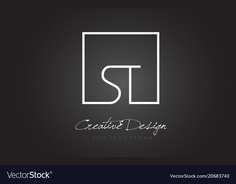 St Square Frame Letter Logo Design With Black And