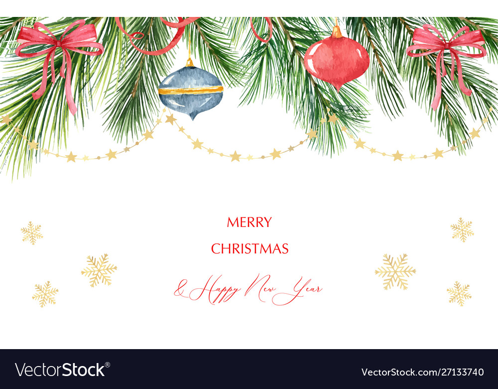 Watercolor christmas banner with green fir