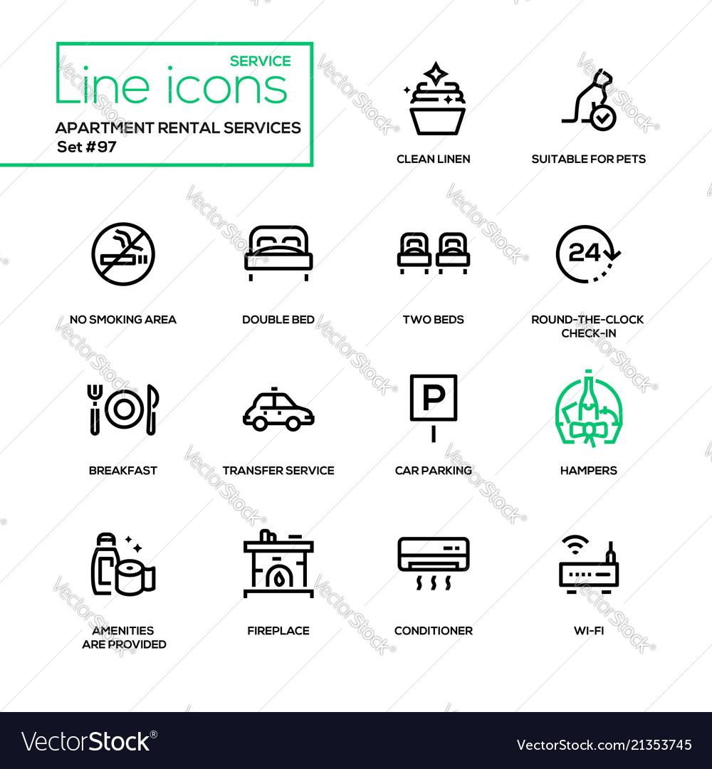 Apartment rental service - line design icons set