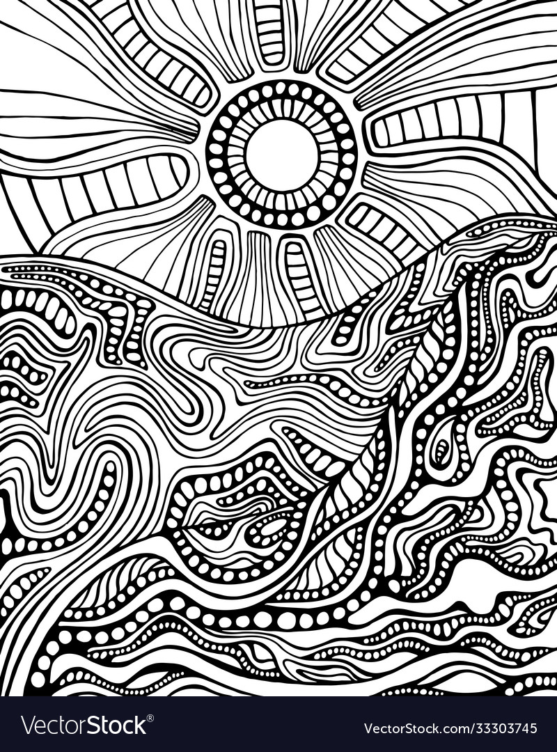 Black and white doodle style landscape