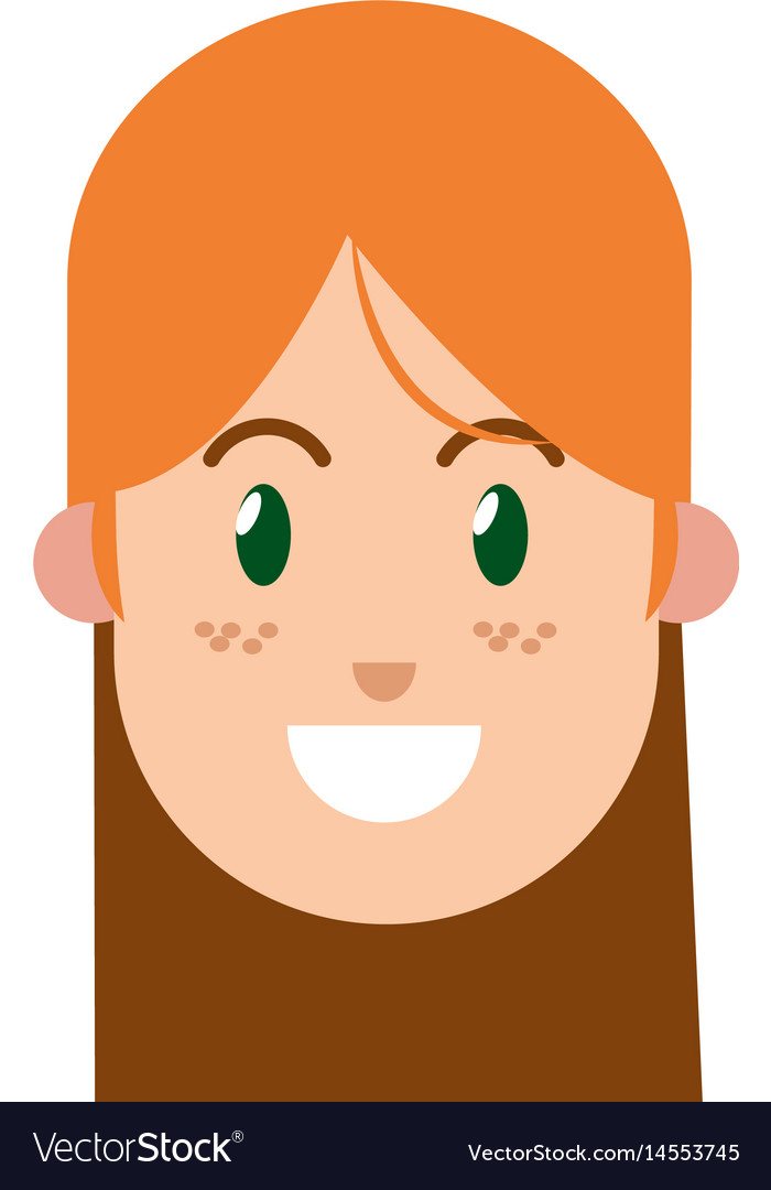 Character Woman Female Green Eye Freckles Vector Image