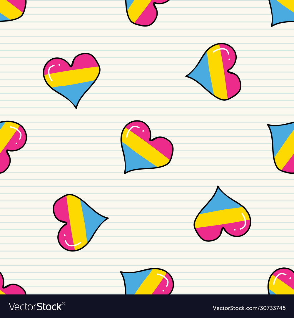 Cute pansexual heart cartoon seamless