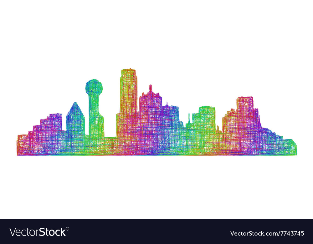 dallas skyline silhouette multicolor line art vector image