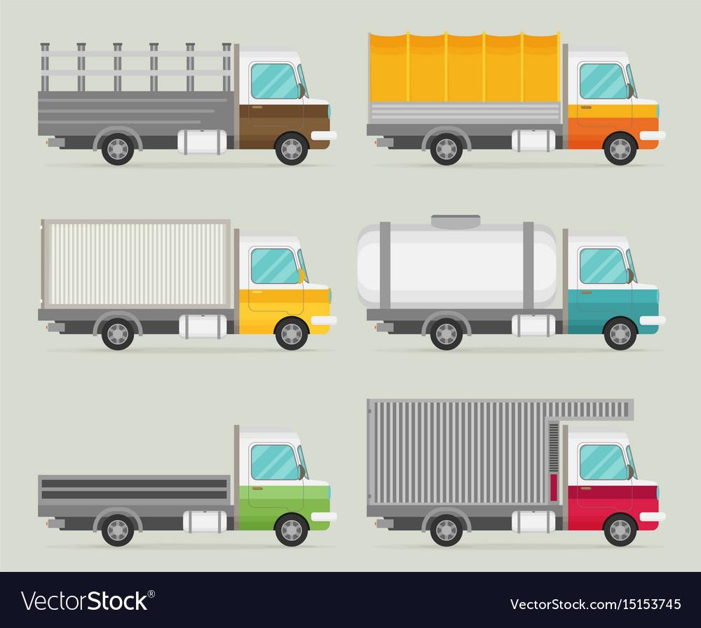 Delivery transport truck van set flat
