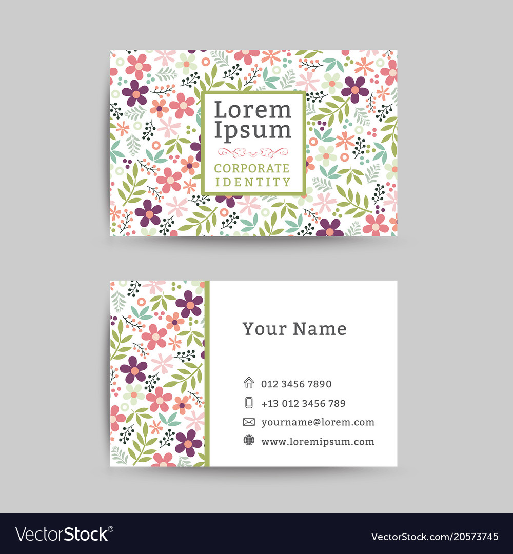 Floral business name card design template vector image cheaphphosting Gallery
