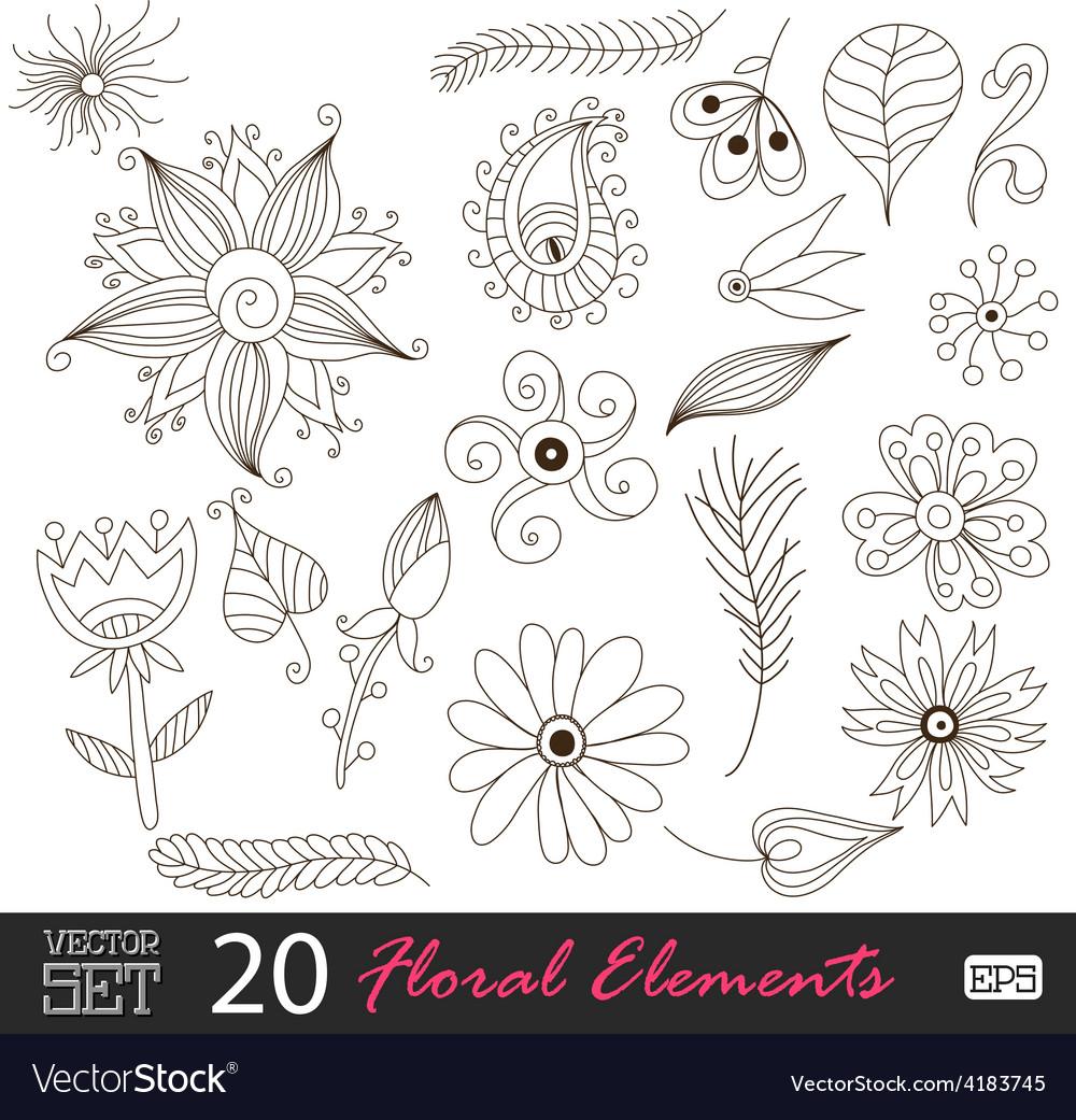 Floral vintage flower pattern set