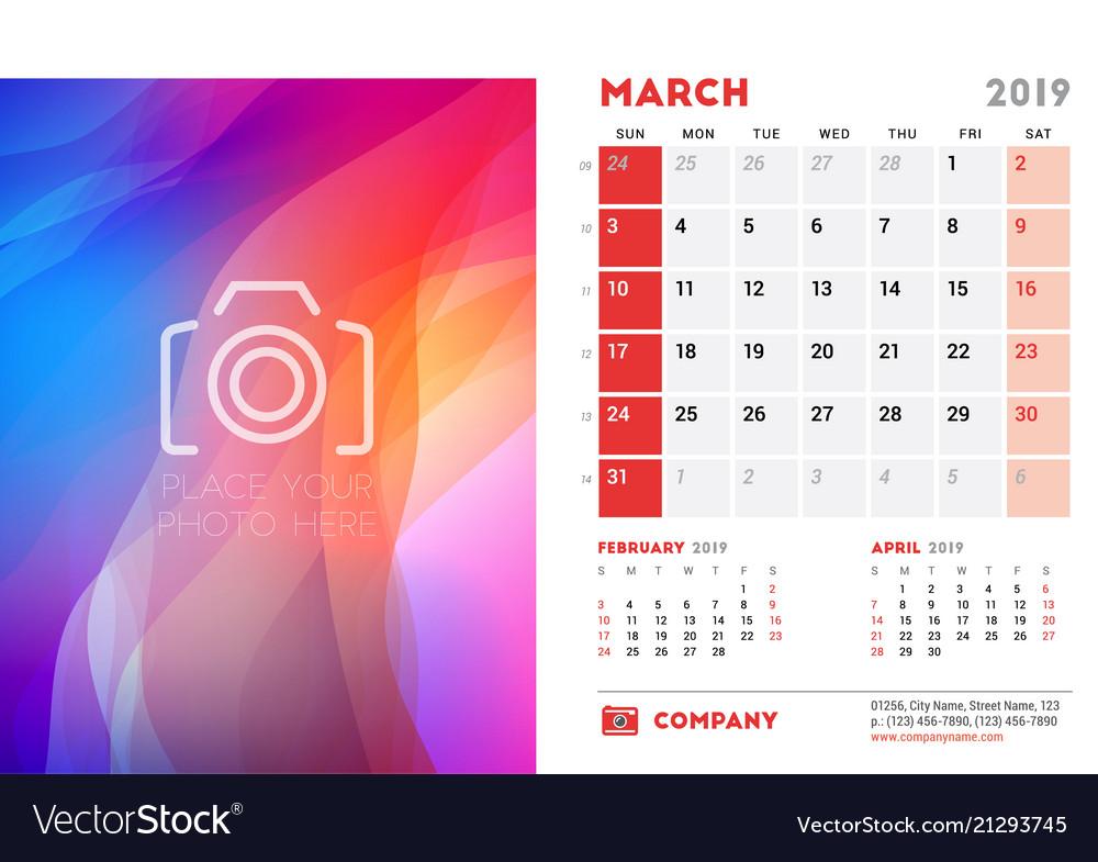 2019 Desk Calendar