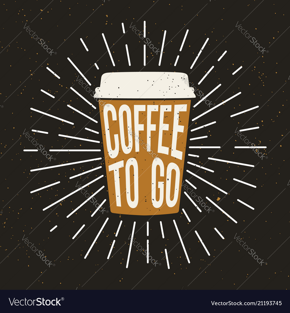 Paper coffee cup with text and grunge effect vector image