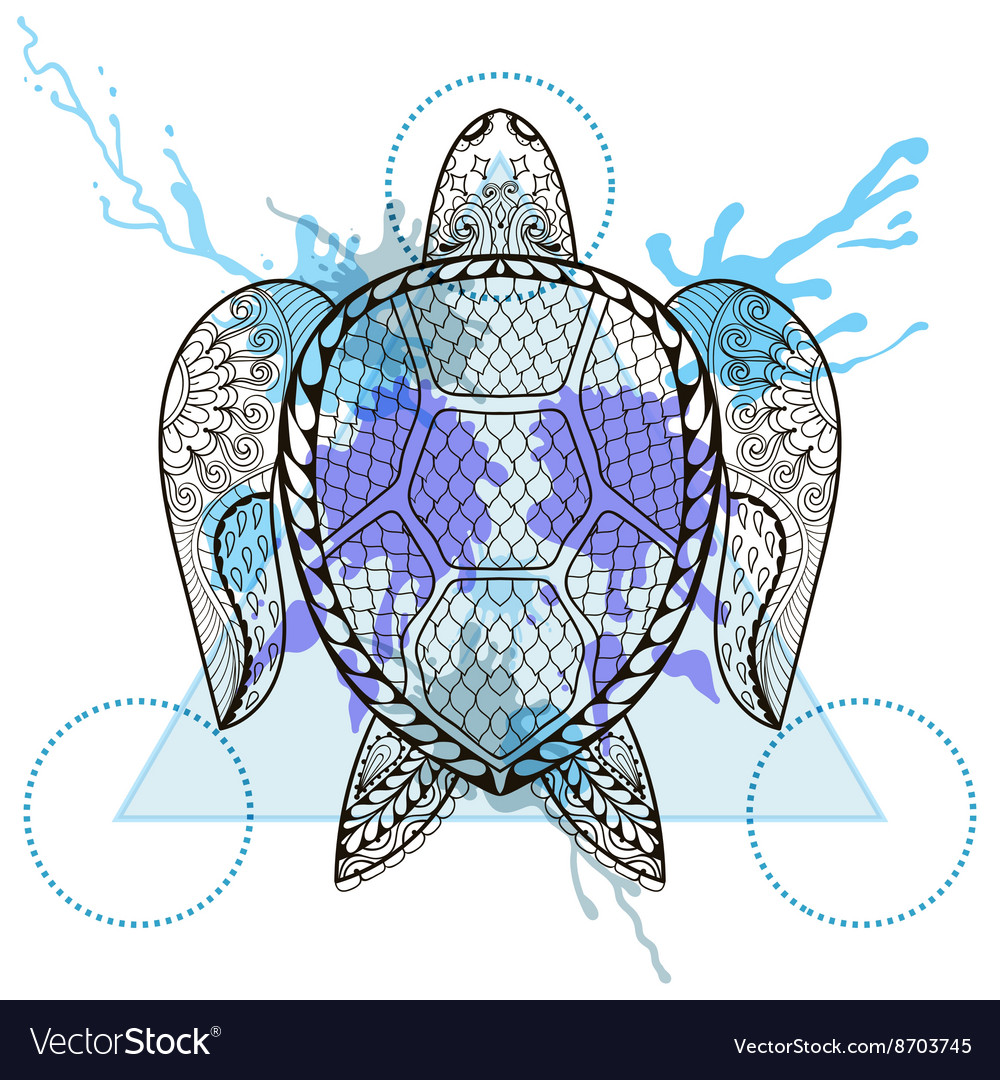 Zentangle stylized Turtle in triangle frame with