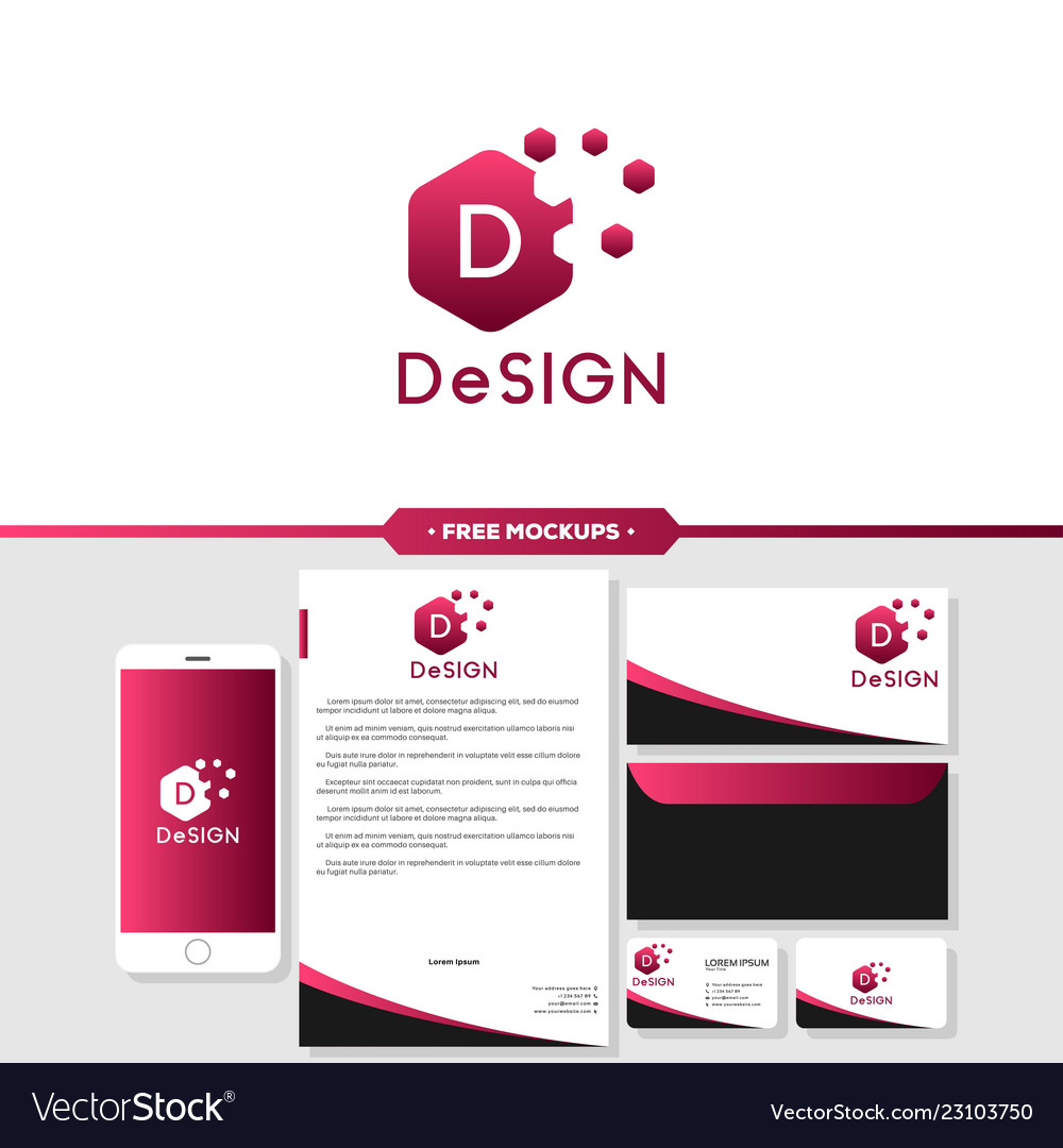 Abstract design logo branding with business card