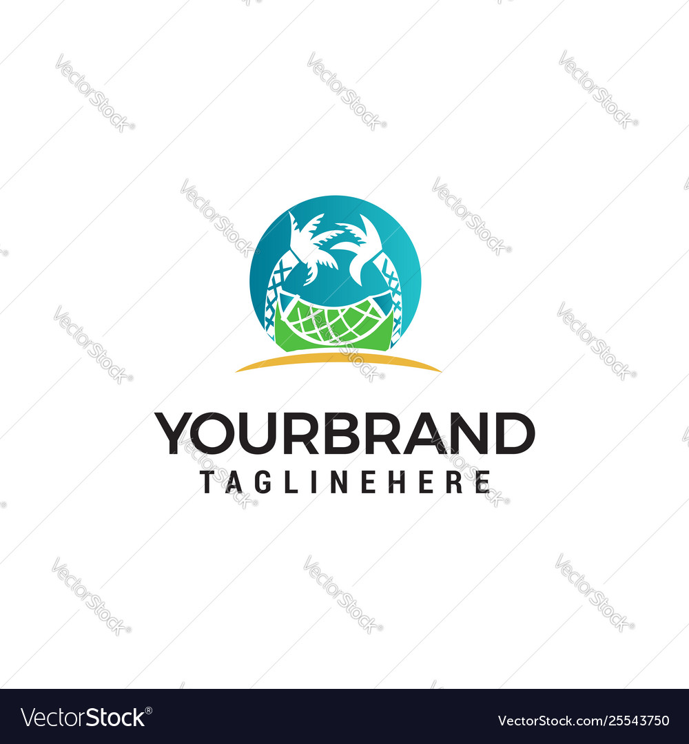 Beach logo design concept template