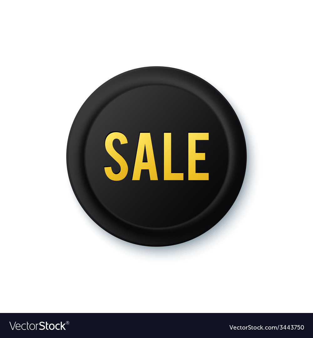 Black round sale sticker with golden letters